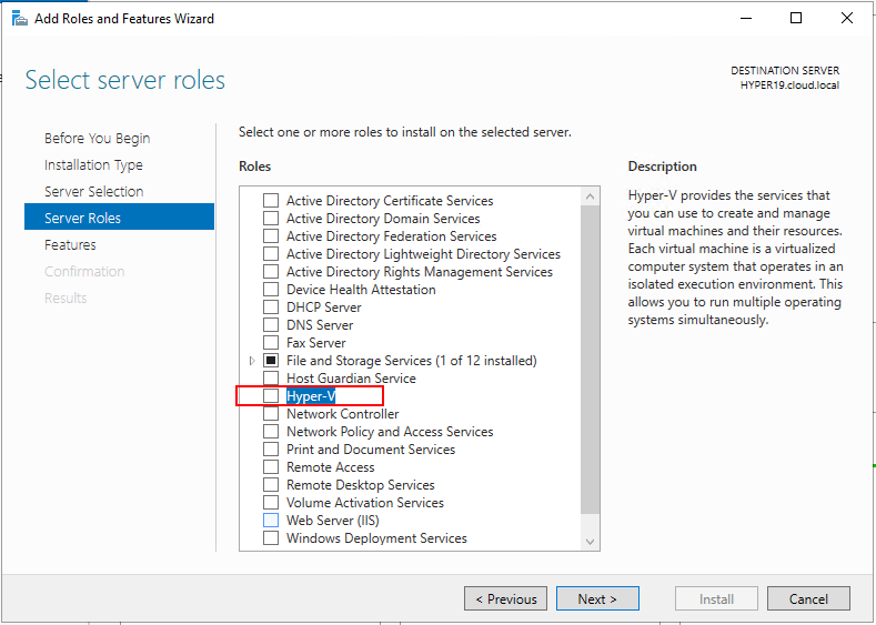 Choosing-the-Hyper-V-Role-for-installation-in-Windows-Server-2019-17709 Windows Server 2019 Preview 17709 with New Hyper-V Released