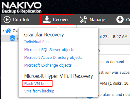Choosing-to-Recover-using-NAKIVO-Flash-VM-Boot Hyper-V Instant VM Recovery with NAKIVO Backup and Replication