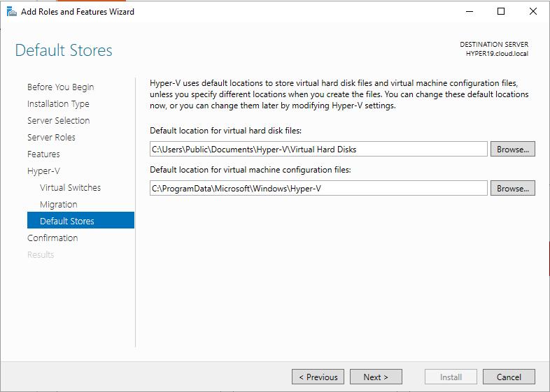 Configuring-Hyper-V-default-storage Windows Server 2019 Preview 17709 with New Hyper-V Released