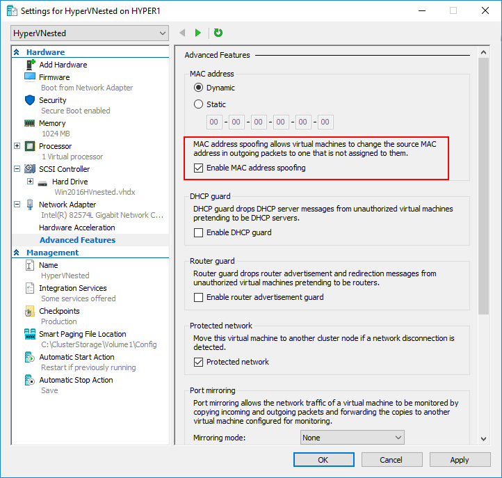 Configuring-MAC-address-spoofing-with-Hyper-V-nested-virtualization VMware vs Hyper-V Nested Virtualization