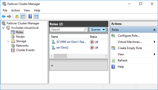 Failover-Cluster-Manager-showing-highly-available-Hyper-V-virtual-machines Creating High Availability Hyper-V Virtual Machines