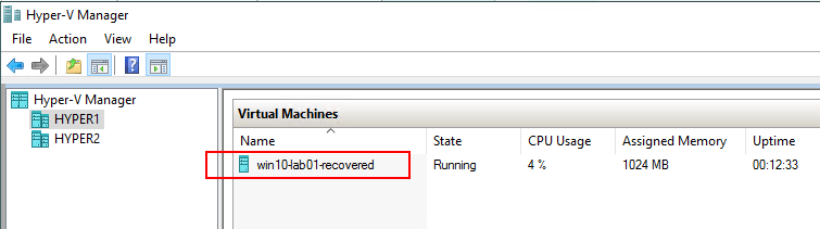 Hyper-V-Flash-VM-Boot-Recovered-VM-in-Hyper-V-Manager Hyper-V Instant VM Recovery with NAKIVO Backup and Replication