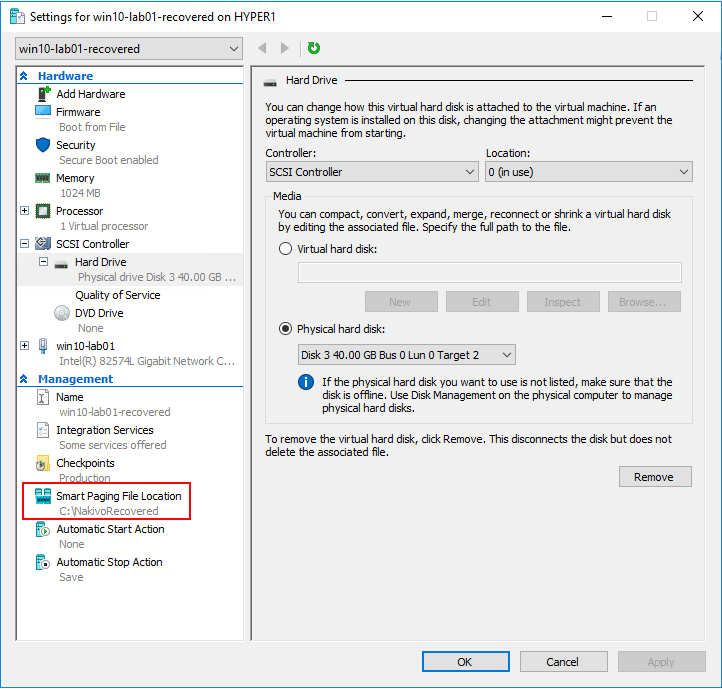 NAKIVO-Restore-location-configured-in-Hyper-V-Virtual-Machine-settings-with-Flash-VM-Boot Hyper-V Instant VM Recovery with NAKIVO Backup and Replication