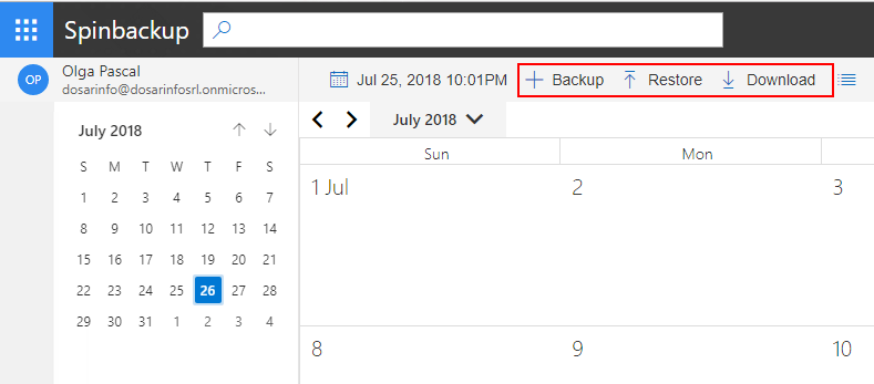 Options-to-backup-or-restore-Office-365-calendar-for-a-user Spinbackup for Office 365 Beta Released Backup and Disaster Recovery Features