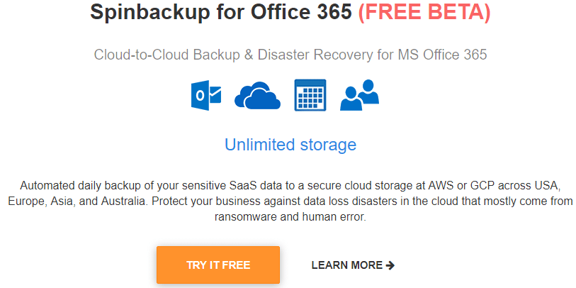 Spinbackup-for-Office-365-Beta-Released-and-Features Spinbackup for Office 365 Beta Released Backup and Disaster Recovery Features