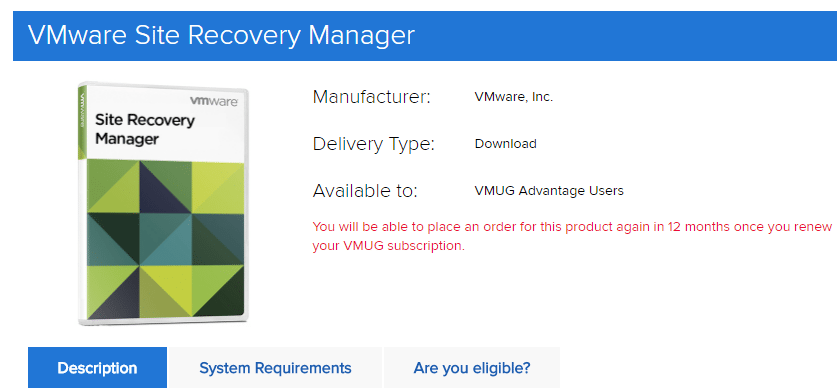 VMware-Site-Recovery-Manager-SRM-is-available-in-the-VMUG-software-download-portal VMware Site Recovery Manager SRM added to VMUG Advantage