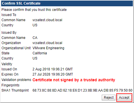 Accept-the-certificate-warning Installing and Configuring VMware vSphere Replication 8.1 in vSphere 6.7