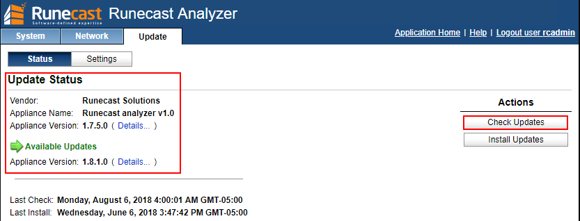 Checking-the-latest-Runecast-Analyzer-version VMware NSX Best Practices with Runecast Analyzer v1.8