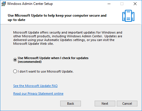 Choosing-Windows-Update-settings-for-Windows-Admin-Center-Preview Windows Admin Center Preview 1808 Hyper-V Cluster and VM Management New Features