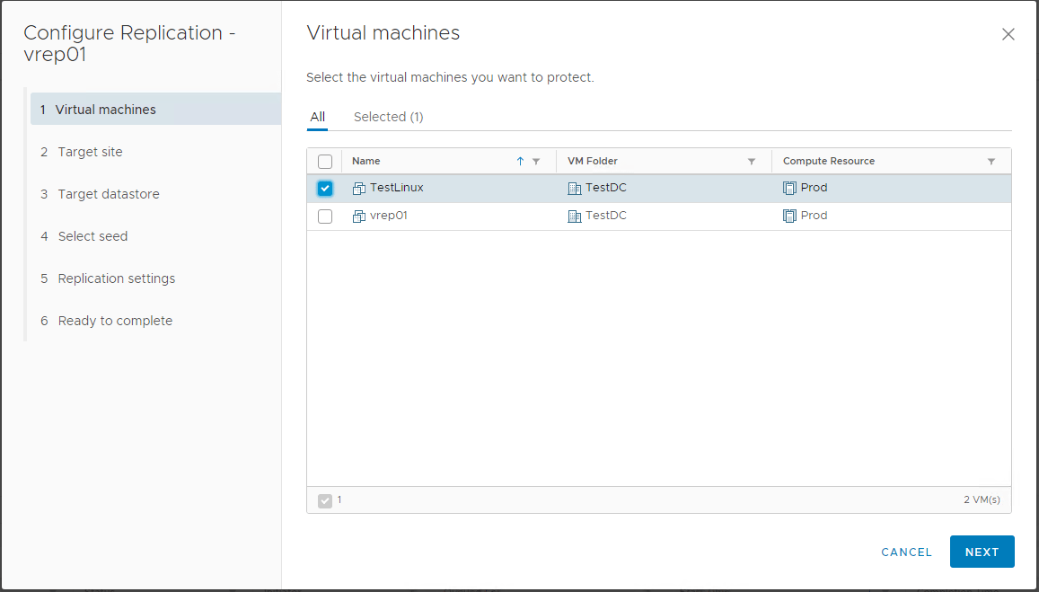 Configure-replication-wizard-select-virtual-machine-vSphere-Replication-8.1 Installing and Configuring VMware vSphere Replication 8.1 in vSphere 6.7