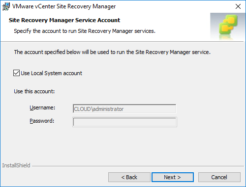 Configuring-the-service-account-to-run-Site-Recovery-Manager-in-Windows Installing VMware vCenter Site Recovery Manager SRM 8.1