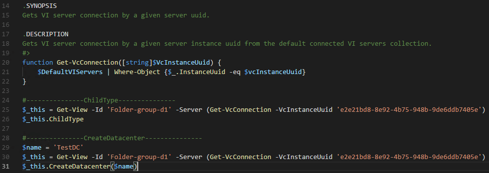 Copying-the-generated-PowerCLI-code-into-Visual-Studio-Code VMware HTML5 Web Client Fling PowerCLI Code Capture