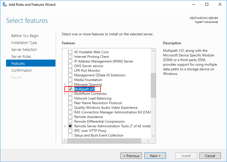 Enable-Multi-path-IO-Windows-Feature-for-MPIO Hyper-V Cluster MPIO iSCSI Installation and Configuration