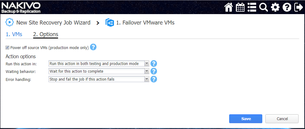 Failover-VMware-VM-Options-in-the-Site-REcovery-Wizard NAKIVO Backup and Replication v8.0 Released with Site Recovery Orchestration DR Testing