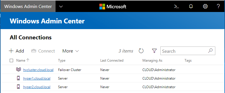 Hyper-V-Cluster-and-individual-Hyper-V-hosts-added-in-Windows-Admin-Center Windows Admin Center Preview 1808 Hyper-V Cluster and VM Management New Features