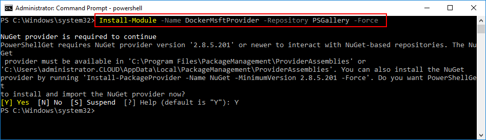 Install-Microsoft-Docker-Provider-Module-Installing-and-Configuring-Windows-Server-2016-Hyper-V-containers Installing and Configuring Windows Server 2016 Hyper-V Containers