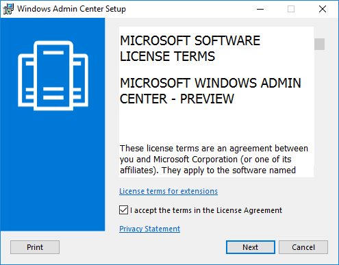Launching-the-Windows-Admin-Center-Preview-1808-installation-and-accepting-EULA Windows Admin Center Preview 1808 Hyper-V Cluster and VM Management New Features
