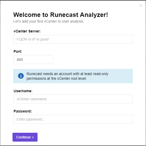 Runecast-Analyzer-2.0-Configuring-VMware-vCenter-Server-connection Runecast Analyzer 2.0 Released with History and VMware PCI-DSS Scanning Features