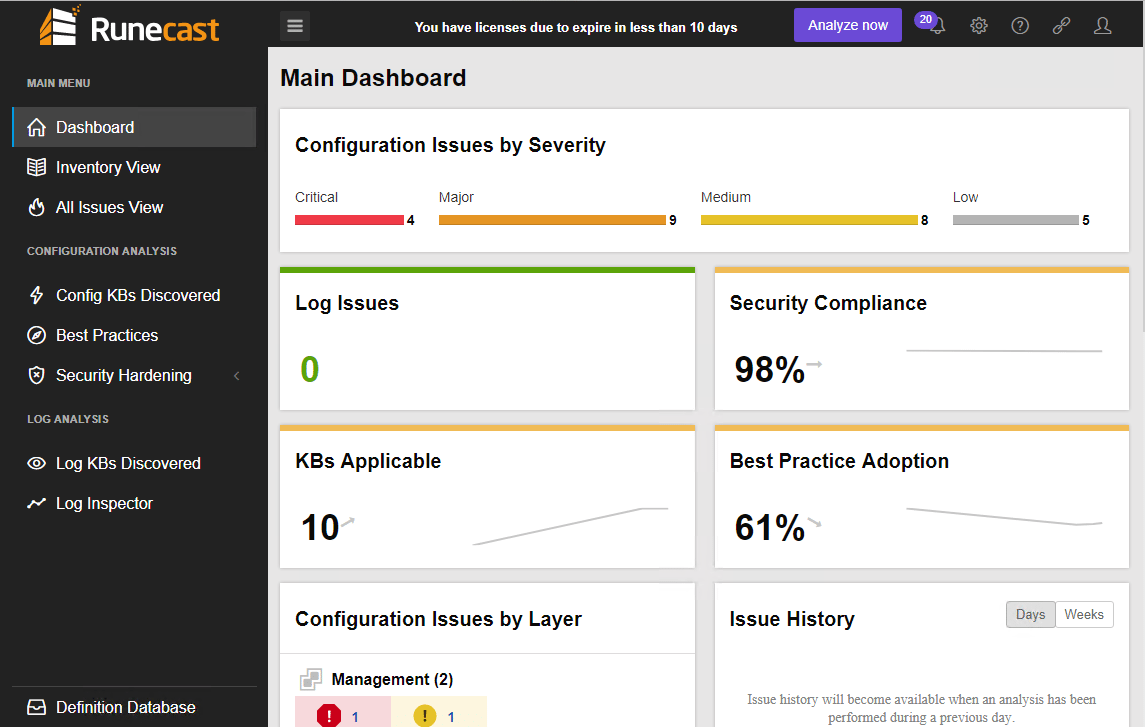 Runecast-Analyzer-2.0-includes-a-new-Dashboard-look-and-feel-along-with-History-of-Issues