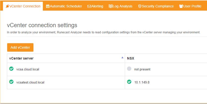 VMware-vCenter-connections-in-Runecast-Analyzer VMware NSX Best Practices with Runecast Analyzer v1.8