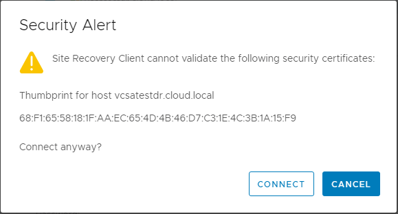 Accept-the-thumbprint-of-the-certificate-from-the-recovery-site-vCenter-Server VMware Site Recovery Manager 8.1 Creating and Managing Site Pairs