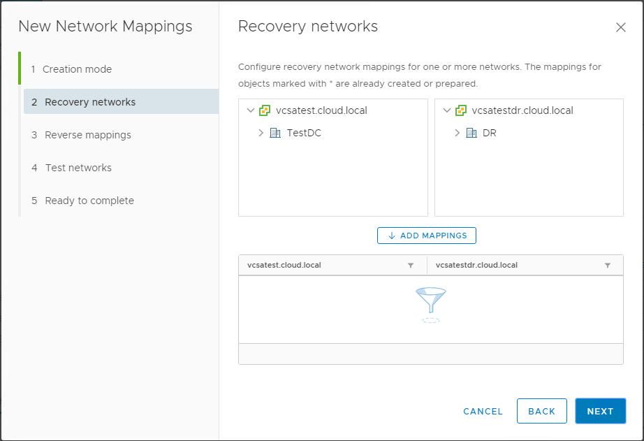 Choosing-the-recovery-networks-in-network-mappings-wizard Automating DR Recovery Site VM Network and IP Configuration with VMware SRM 8.1