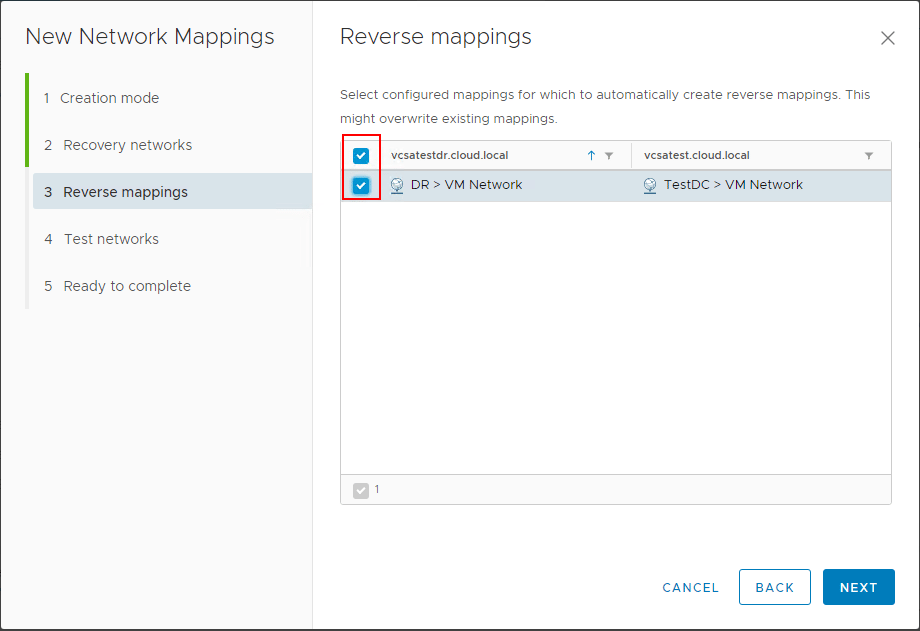 Choosing-to-add-the-reverse-mapping-in-the-network-mapping-configuration Automating DR Recovery Site VM Network and IP Configuration with VMware SRM 8.1