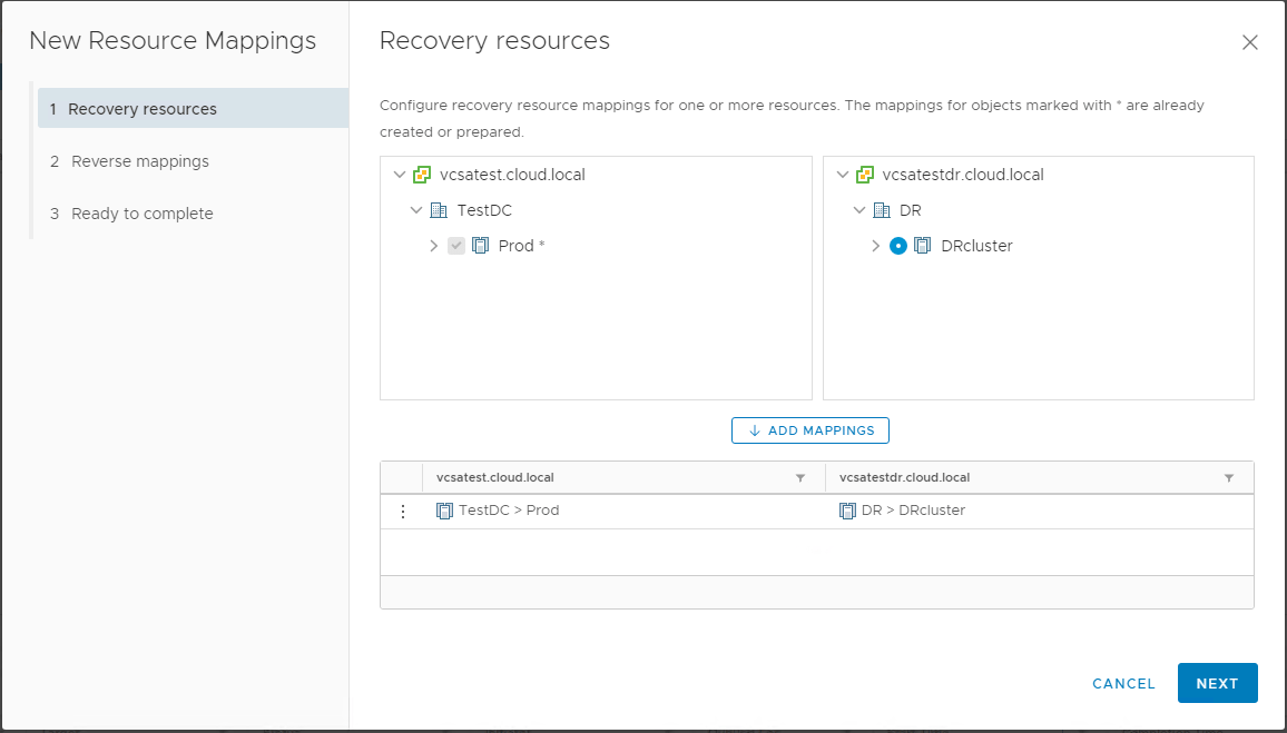 Creating-Resource-Mappings-between-protected-and-recovery-networks Create VMware vSphere Site Recovery Manager 8.1 Replication Protection Group and Recovery Plan