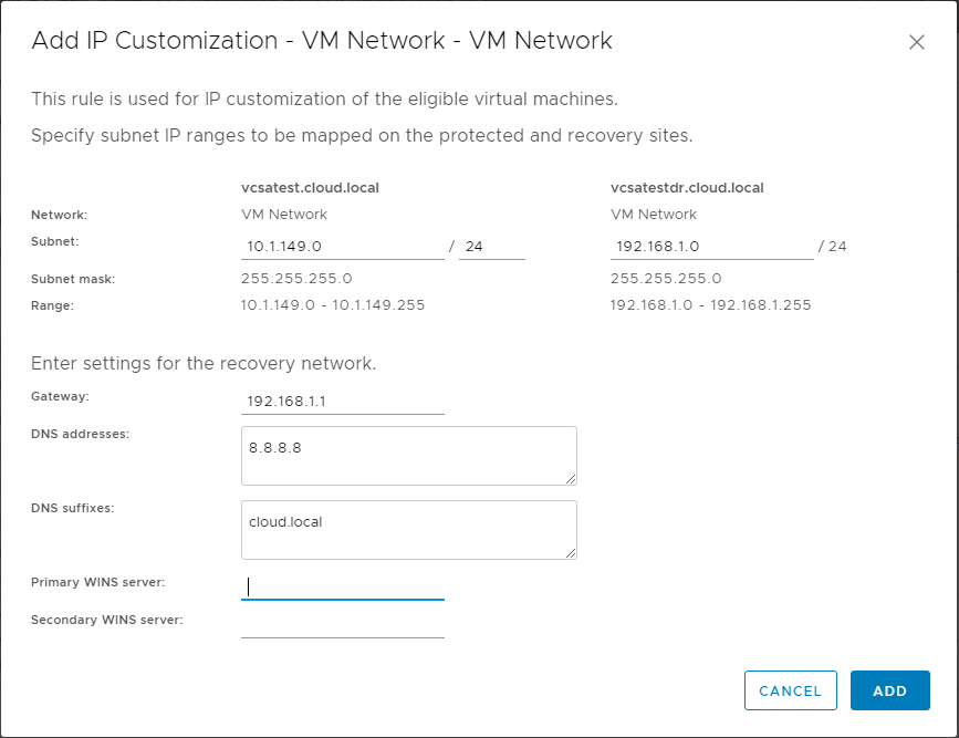 Creating-a-new-IP-customization-rule-in-Site-Recovery-Manager-8.1 Automating DR Recovery Site VM Network and IP Configuration with VMware SRM 8.1
