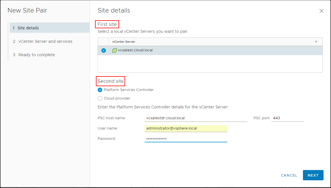 Pairing-the-protected-and-recovery-sites-in-Site-Recovery-Manager-8.1- VMware Site Recovery Manager 8.1 Creating and Managing Site Pairs