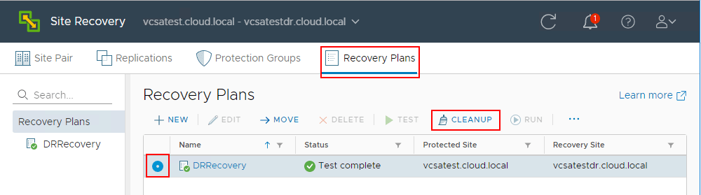 Running-cleanup-job-after-testing-a-recovery-plan-in-VMware-Site-Recovery-Manager-8.1 Testing a Disaster Recovery Plan with VMware Site Recovery Manager SRM 8.1