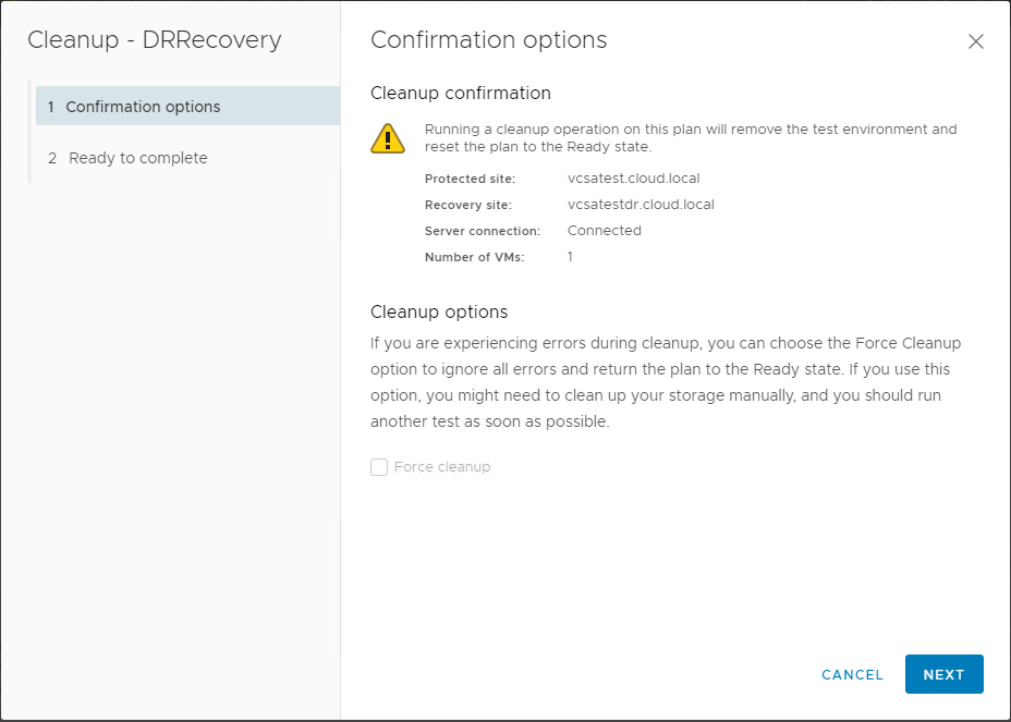 Running-the-cleanup-operation-in-VMware-Site-Recovery-Manager-SRM-8.1 Testing a Disaster Recovery Plan with VMware Site Recovery Manager SRM 8.1