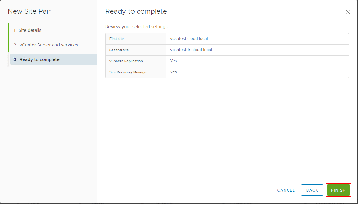 Site-Pairing-of-the-protected-and-recovery-site-ready-to-complete VMware Site Recovery Manager 8.1 Creating and Managing Site Pairs
