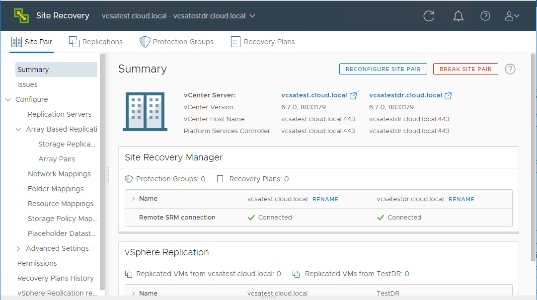 Site-Recovery-Manager-Site-Pair-Management-Interface-and-options VMware Site Recovery Manager 8.1 Creating and Managing Site Pairs