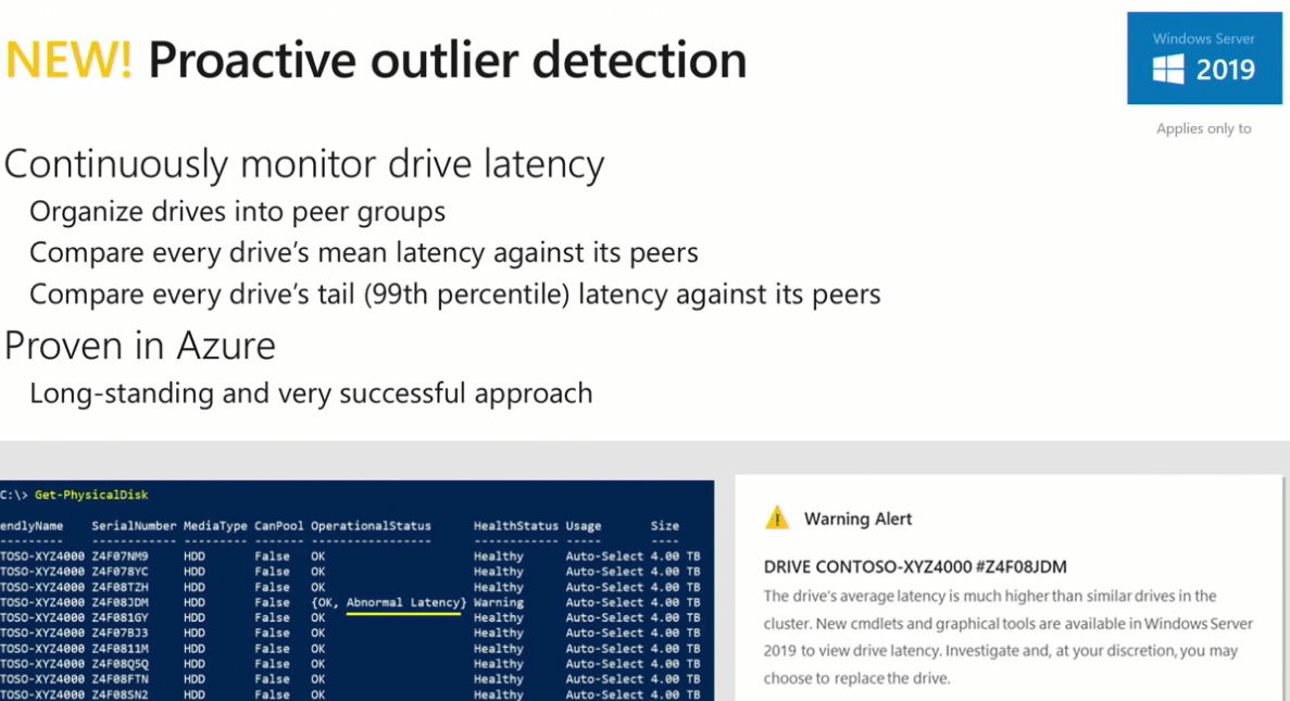 Windows-Server-2019-Proactive-Outlier-Detection-for-Failing-Physical-Disks Windows Server 2019 Storage Spaces Direct Features and Improvements