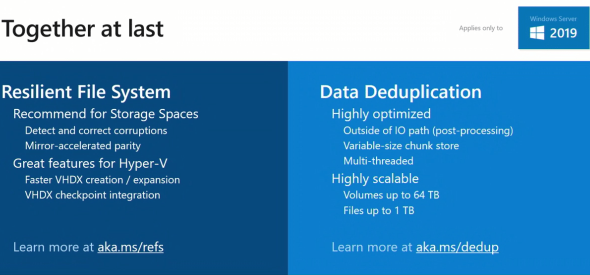 Windows-Server-2019-combines-ReFS-and-Data-Deduplication-together Windows Server 2019 Storage Spaces Direct Features and Improvements