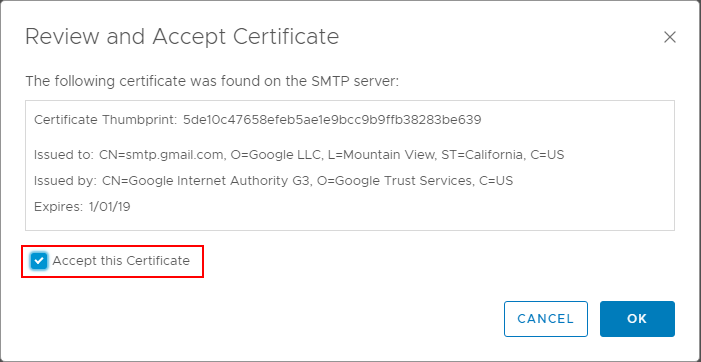 Accept-the-certificate-presented-with-TLS-or-SSL-email-authentication VMware vRealize Operations 7.0 vCenter Connection and SMTP Configuration
