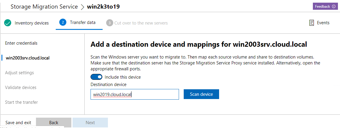 Add-destination-device-and-scan-the-device Migrate from Windows Server 2003 to Windows Server 2019 with Storage Migration