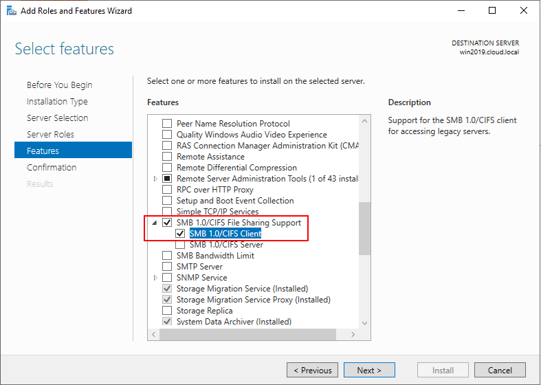 Add-support-for-SMB-1.0-and-CIFS-File-Sharing-in-Windows-Server-2019 Migrate from Windows Server 2003 to Windows Server 2019 with Storage Migration