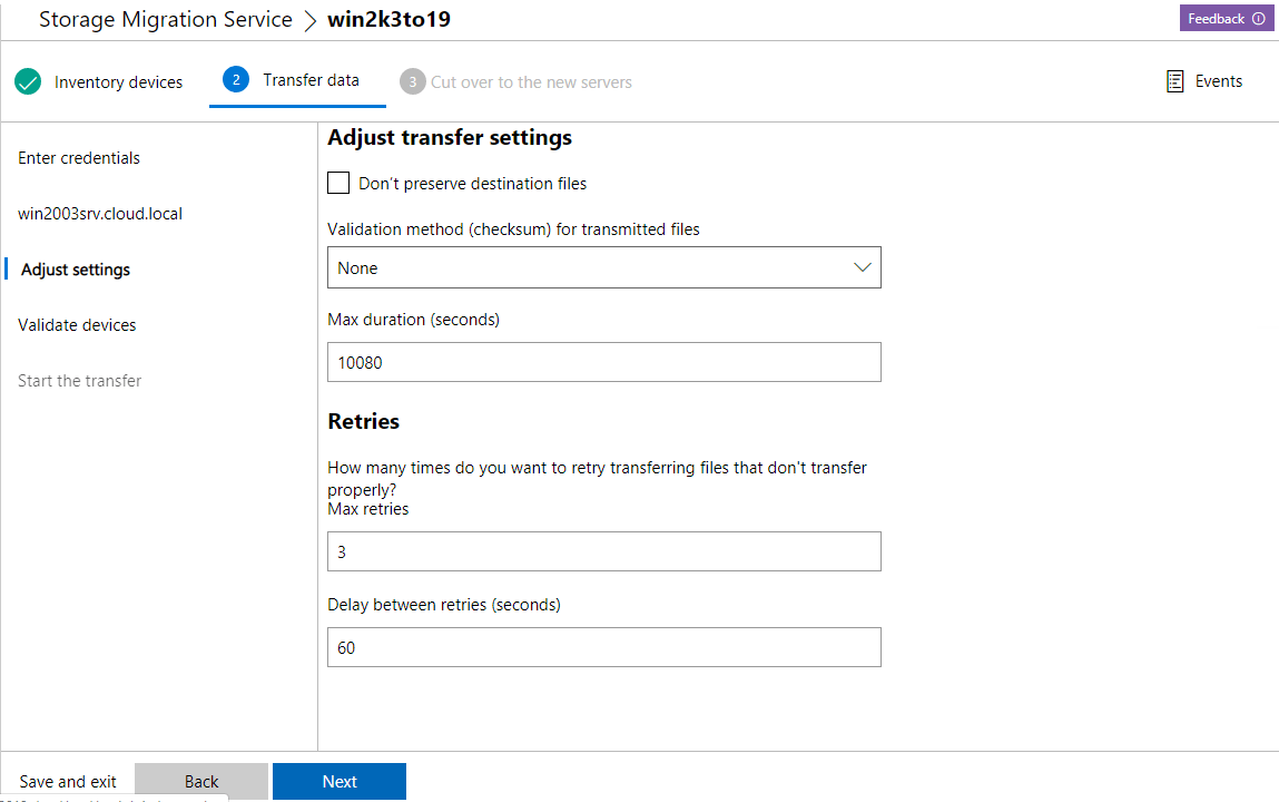 Adjust-settings-for-the-data-transfer Migrate from Windows Server 2003 to Windows Server 2019 with Storage Migration