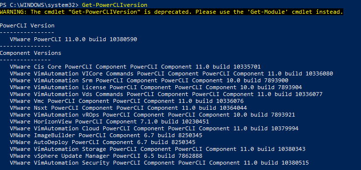 Checking-the-PowerCLI-version-after-updating VMware vSphere PowerCLI 11.0 Released with New Features and Updating