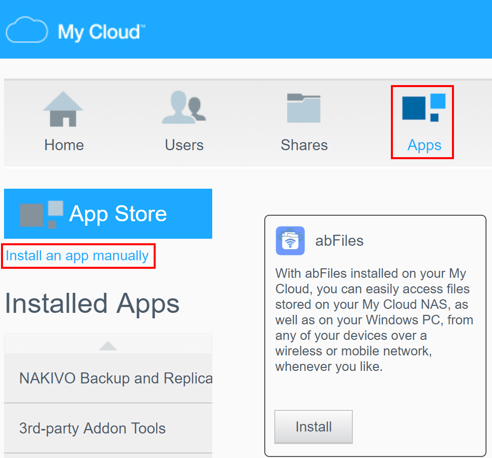 Choose-to-install-an-app-manually-to-upload-and-install-NAKIVO Backup VMs Using NAS Appliance with NAKIVO