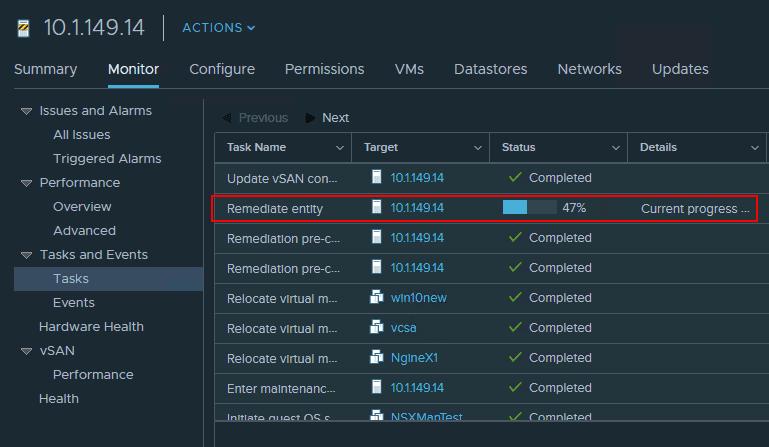 ESXi-host-remediation-in-progress-for-vSphere-6.7-Update-1-in-VUM Upgrade to VMware vSphere ESXi 6.7 Update 1 using VUM