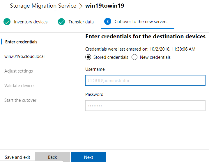 Enter-credentials-for-the-cutover-process Migrate from Windows Server 2003 to Windows Server 2019 with Storage Migration