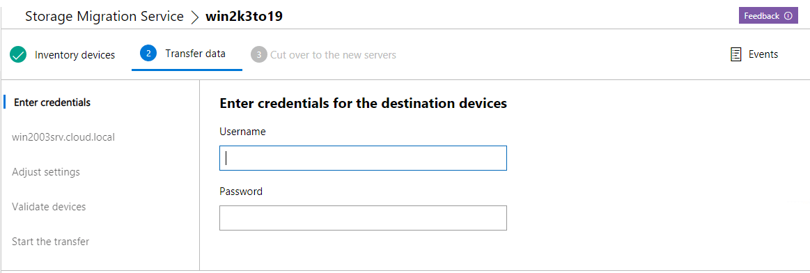Enter-credentials-for-the-destination-device-to-transfer-the-files Migrate from Windows Server 2003 to Windows Server 2019 with Storage Migration