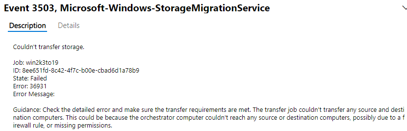 Event-log-error-with-the-Storage-Migration-Service Migrate from Windows Server 2003 to Windows Server 2019 with Storage Migration