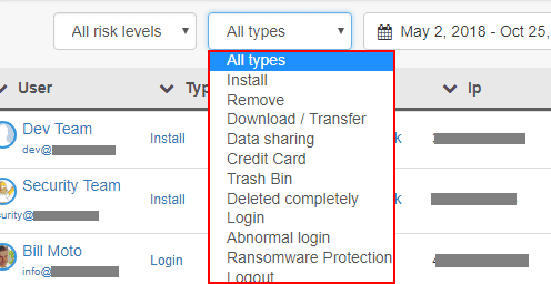 Filtering-based-on-the-type-of-security-event-in-Domain-Audit Quick and Easy Google G Suite Backups and Security using Spinbackup