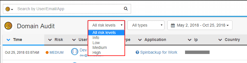 Filtering-security-events-based-on-risk-in-Domain-Audit Quick and Easy Google G Suite Backups and Security using Spinbackup