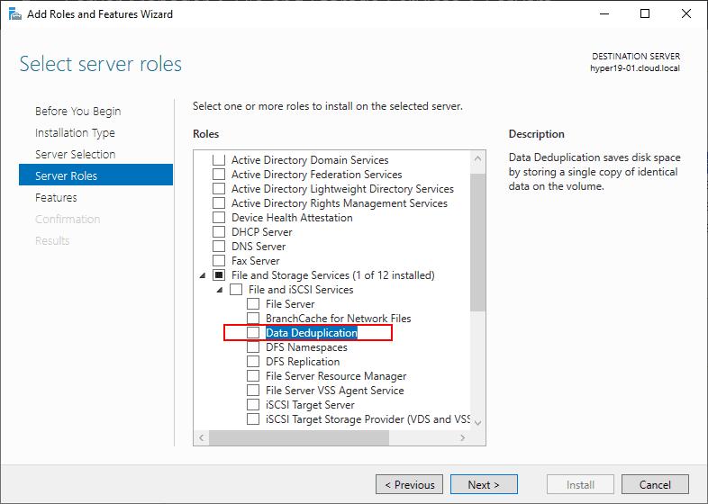 Installing-Data-Deduplication-using-Server-Manager-in-Windows-Server-2019 Create Windows Server 2019 Storage Spaces Direct Volumes in Windows Admin Center