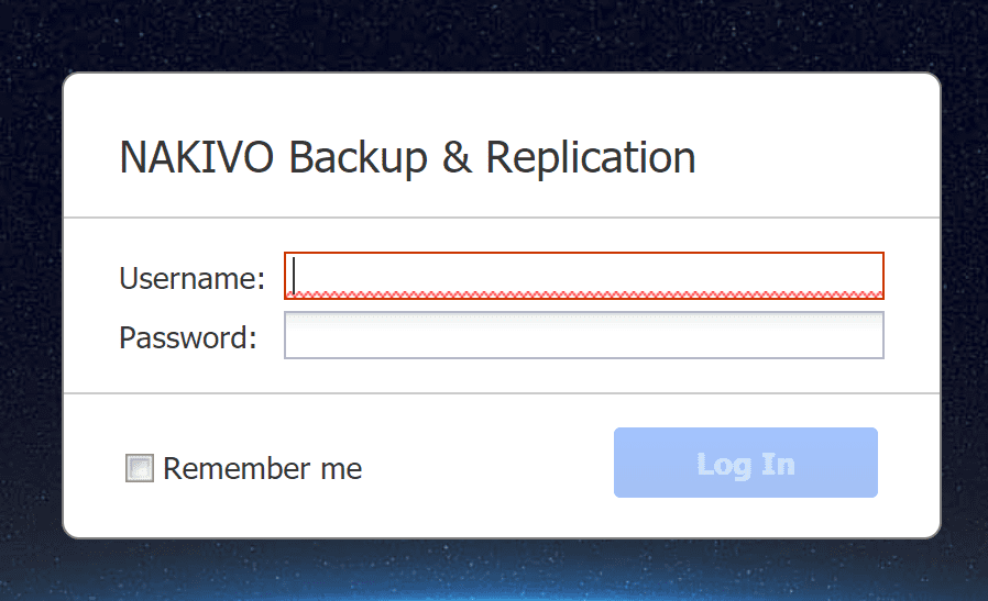 NAKIVO-Backup-Replication-login-screen-on-WD-NAS Backup VMs Using NAS Appliance with NAKIVO